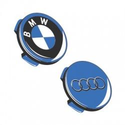 Coprimozzo Fiat logo blu con alloro cromato 50 mm
