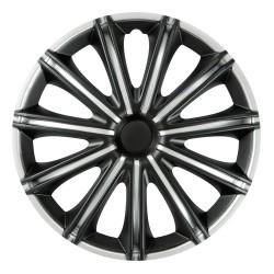 Nero Black & Silver Kit 4 copricerchi coppe ruota diametro 15