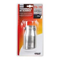TS 15 Terminale di scarico in acciaio inox lucidato diametro 36-48 mm