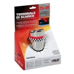 TS 28 Terminale di scarico in acciaio inox lucidato diametro 33-46 mm