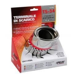 TS 34 Terminale di scarico in acciaio inox lucidato diametro 27-35 mm