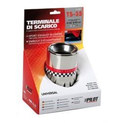 TS 35 Terminale di scarico in acciaio inox lucidato diametro 36-42 mm