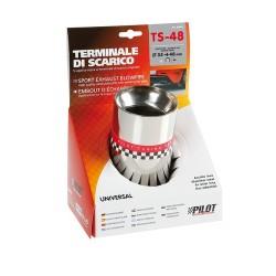 TS 48 Terminale di scarico in acciaio inox lucidato diametro 35-48 mm