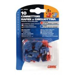 10 connettori rapidi a ghigliottina rosso / blu