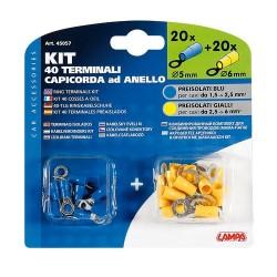 Kit 40 terminali capicorda ad anello giallo/blu