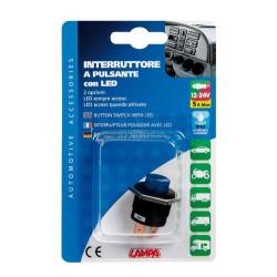 Interruttore a pulsante con led 12/24V blu